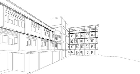 construction plans: 3d wireframe of building