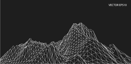 3D wireframe of contour swirl Ilustrace