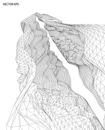 surround: 3D wireframe of contour swirl Illustration