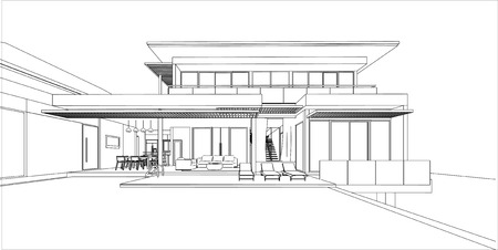 3d Perspective Wireframe Of Building.