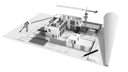 modern house exterior: 3d illustration of building design concept, architects computer generated visualization in drawing style