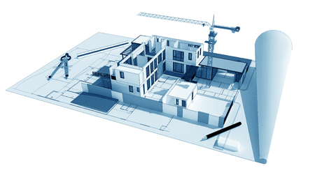 building blueprint: 3d illustration of building design concept, architects computer generated visualization in drawing style