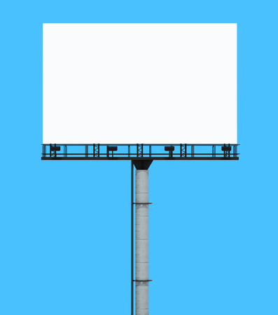 ��copy space �: Billboard with copy space, isolated on blue Stock Photo