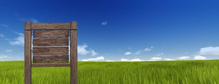sign in: Wood sign in green grass on sky background