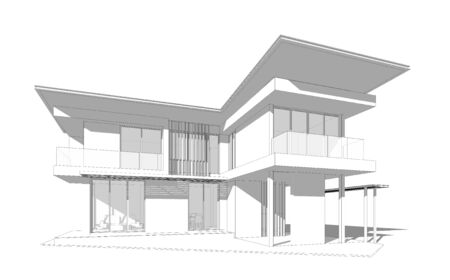 architectural design: Perspective 3D render of building wireframe.