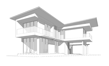 Perspective 3D render of building wireframe.