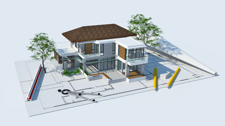 residential home: 3d illustration of building design concept, architects computer generated visualization in drawing style