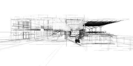 render: Perspective 3D render of building wireframe.