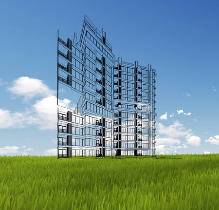 sky scrapers: Wireframe Building on green grass and blue sky. Extremely high detailed quality render. Copyspace. Green landscapes collection