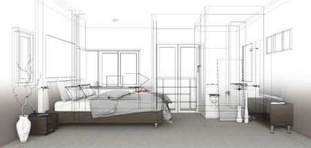 sketch design of bedroom ,3dwireframe render photo