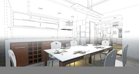 sketch design of dining ,3dwireframe render Stock Photo