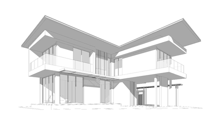 housing project: 3D wireframe of building