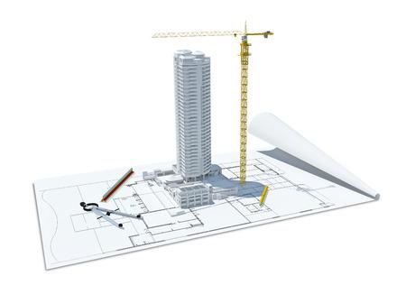 建物のデザイン コンセプト、スタイルを図面で建築家コンピューター生成の可視化の 3 d イラストレーション 写真素材