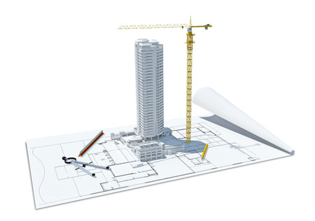 3d illustration of building design concept, architects computer generated visualization in drawing style