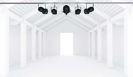 art museum: Empty White Room with spotlight - 3d Perspective