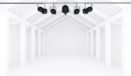 exhibit houses: Empty White Room with spotlight - 3d Perspective