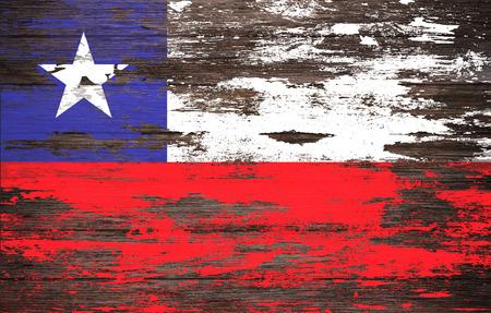 bandera de chile: Bandera de Chile pintada en el fondo de madera