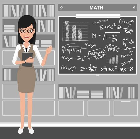 Women Teacher Standing In Front Of Classroom With Education Infographics