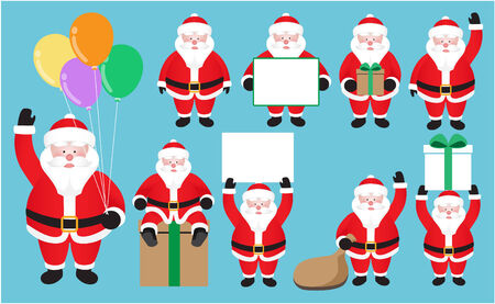 one year old: Santa Claus set on blue background