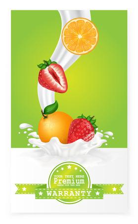 milk drop: Fruit in milk splash over green banners. Vector. Illustration