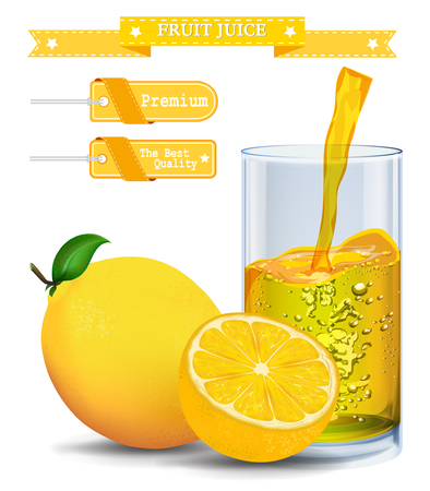 Lemon juice Label vector visual, ideal for fruit juice. Can drawn with mesh tool. Fully adjustable & scalable. Vector illustration Illustration