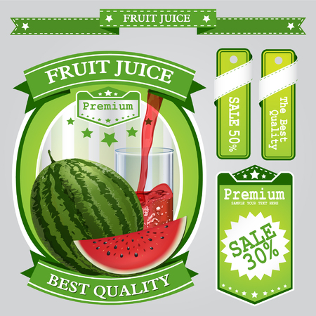nonalcoholic: Fruit juice Label vector visual, ideal for fruit juice. Can drawn with mesh tool. Fully adjustable & scalable. Vector illustration