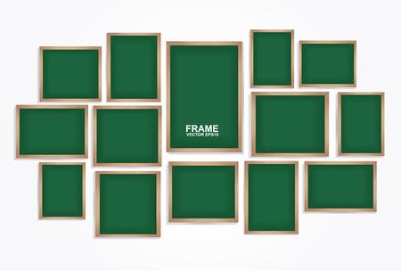 art gallery: Chalkboard frame vector. Photo art gallery Illustration