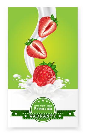 Fruit in milk splash over green banners. Vector. Ilustração