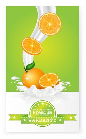 refrigerant: Fruit in milk splash over green banners. Vector. Illustration