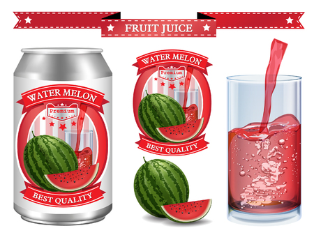 non alcoholic beverage: Water melon juice Label vector visual, ideal for fruit juice. Can drawn with mesh tool. Fully adjustable & scalable. Vector illustration Illustration