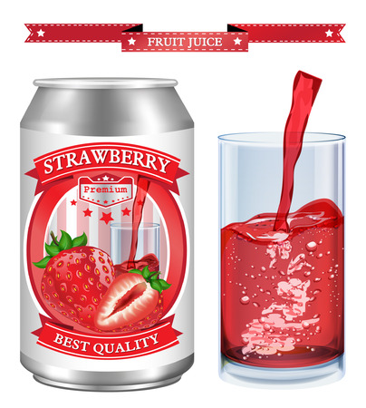 adjustable: Strawberry juice Label vector visual, ideal for fruit juice. Can drawn with mesh tool. Fully adjustable & scalable. Vector illustration