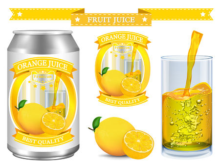 nonalcoholic: Lemon juice Label vector visual, ideal for fruit juice. Can drawn with mesh tool. Fully adjustable & scalable. Vector illustration Illustration
