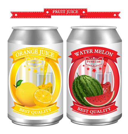 Fruit juice Label vector visual on can, ideal for fruit juice. Can drawn with mesh tool. Fully adjustable & scalable. Vector illustration Vector