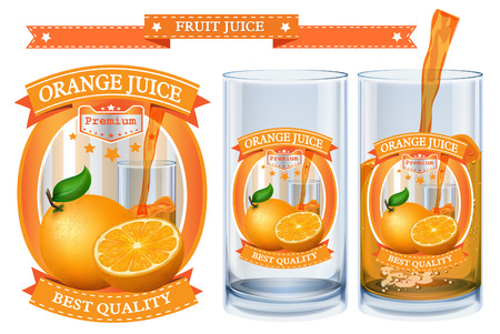 juice: Orange juice Label visual Illustration
