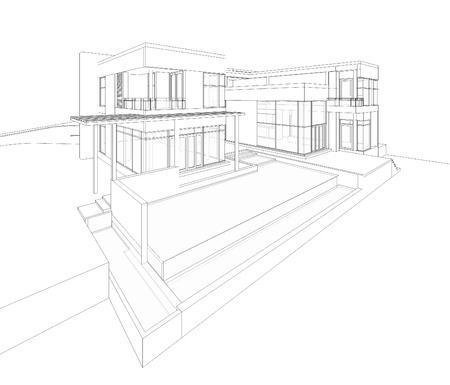 Perspektive 3D übertragen Von Gebäude Drahtmodell Lizenzfreie Fotos ...