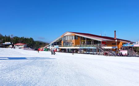 Fujiten ski resort, Fuji japan December 2014 - Mountains ski resort, nature and sport background Editorial