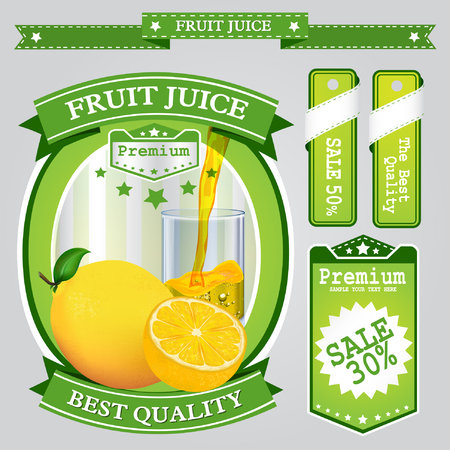 scalable: Fruit juice Label vector visual, ideal for fruit juice. Can drawn with mesh tool. Fully adjustable & scalable. Vector illustration