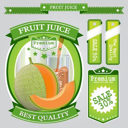 non alcohol: El jugo de frutas Label visual vector, ideal para el jugo de fruta. Puede dibujado con la herramienta de malla. Totalmente ajustable y escalable. Ilustraci�n vectorial