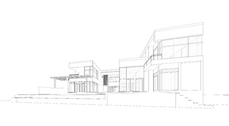 architects: Perspective 3D render of building wireframe