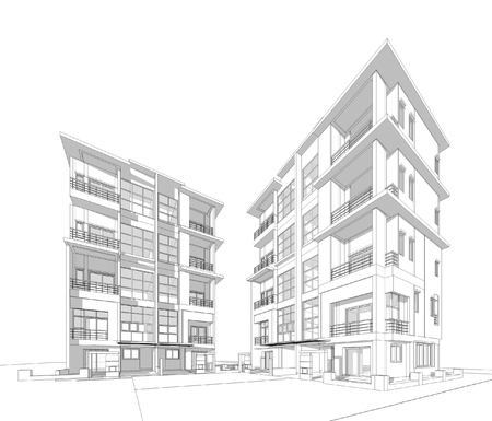 housing project: Wireframe Perspective of 3d building
