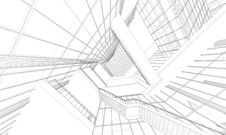 Wireframe Perspective of 3d building Stock Photo - 48514064