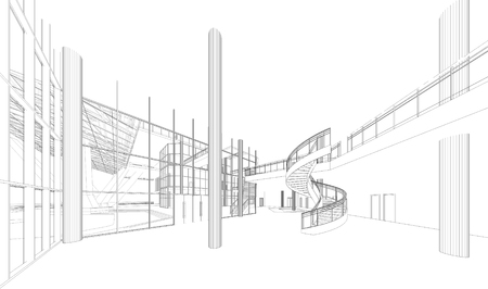 modern architecture: Wireframe Perspective of 3d building