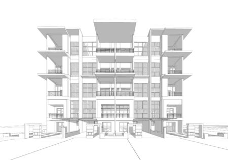 front of house: Perspective 3D render of building wireframe.