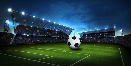 american football ball: lights at stadium with Soccer ball. Sport background. 3d render