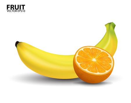 fruit stem: Banana and orange
