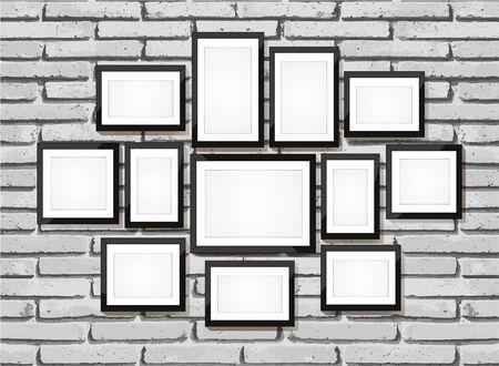 madera rústica: Imagen del vector del marco. Foto galería de arte en la pared de ladrillo