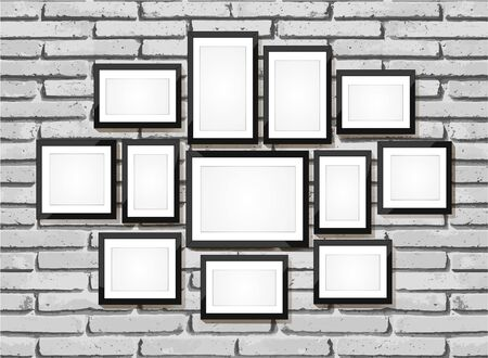 frame wall: Picture frame vector. Photo art gallery on brick wall Illustration