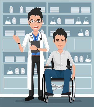 intensive care: Doctor and man on wheelchair. Vector illustration on the background of hospital ward.