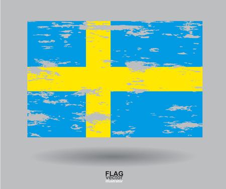 bandera de suecia: Suecia Bandera de la vendimia con textura de fondo. Vector, EPS10