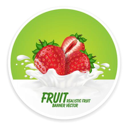 Colorful fresh fruits falling into the milky splash banner. Vector illustration Ilustração